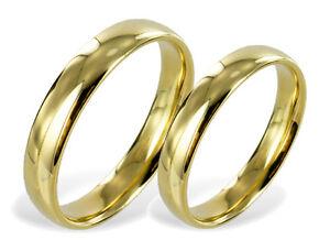 Prächtig ECHT GOLD *** 2 x Trauringe Eheringe schlicht, glänzend, 4 mm &RO_95