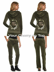 ed9377397aa7 Image is loading JUICY-COUTURE-Embellished-Velour-Hoodie-Jacket-amp-Joggers-