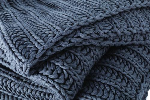 Sheridan Seymour Chunky Knitted Throw in Smoke 130 x 150cm