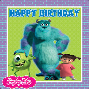 PRECUT-EDIBLE-ICING-7-5-INCH-SQUARE-BIRTHDAY-MONSTERS-INC-CAKE-TOPPER-CS0408