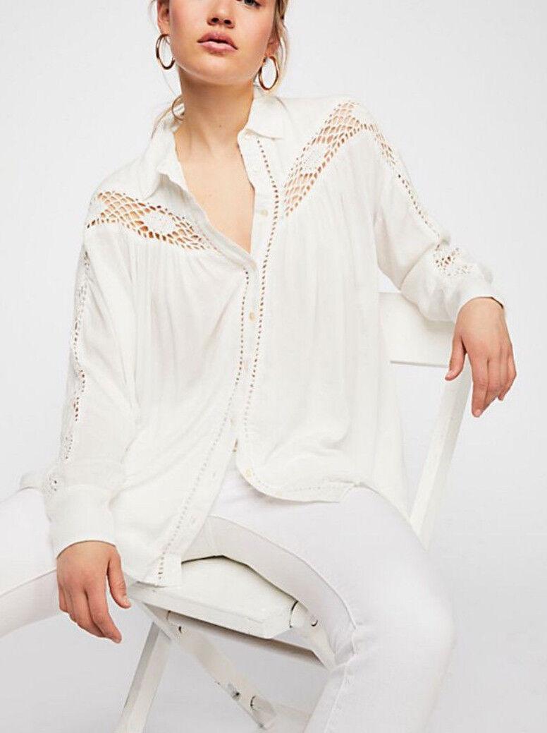 Free People OB800736 Katie Bird Lace Crochet-Inset Long Sleeve Shirt Ivory