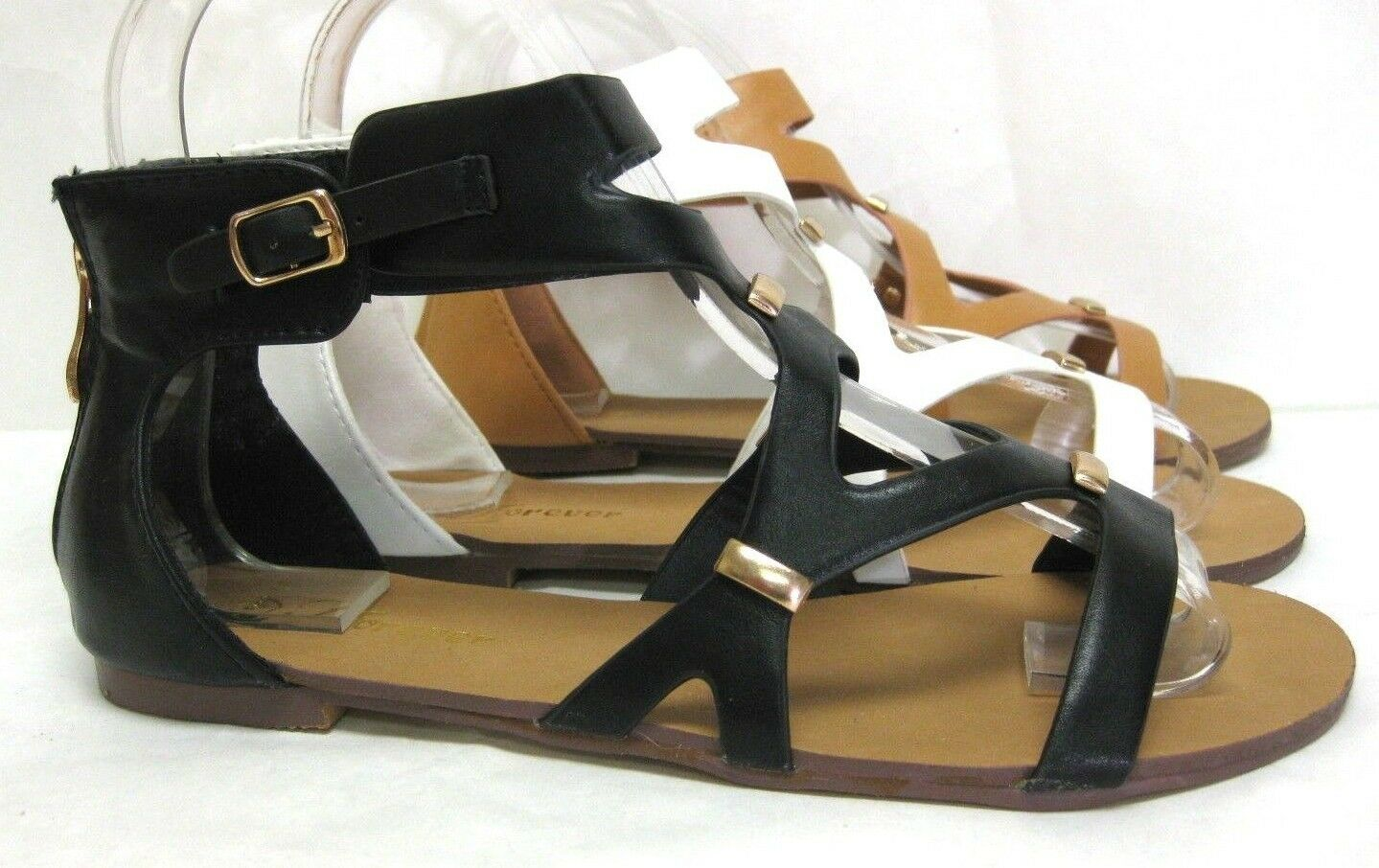 NEW WOMEN'S STRAPPY CAGED ANKLE GLADIATOR ZIPPER BACK BUCKLE ANKLE CAGED FLAT SANDALS 6a3e4b