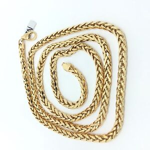 18k Solid Yellow Gold Hollow Franco Chain Ebay
