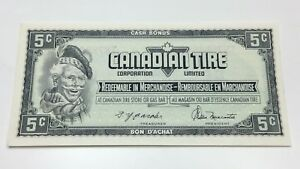 1974-Canadian-Tire-5-Five-Cents-CTC-S4-B-TN-Uncirculated-Money-Banknote-E042
