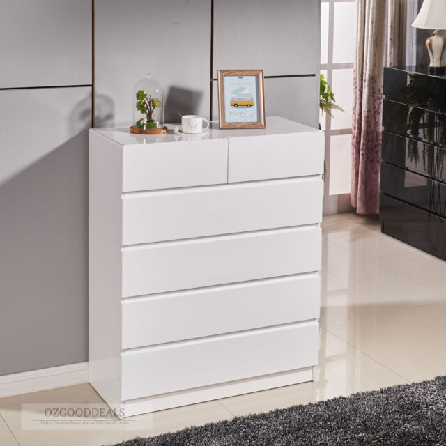 High Gloss White Wooden Tallboy Chest 6 Drawer Cabinet Classic Look 4053WH