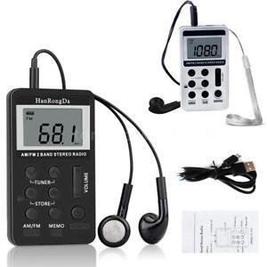 Mini-Digital-Portable-Pocket-LCD-AM-FM-Radio-2-Band-Stereo-Receiver-w-Headphone