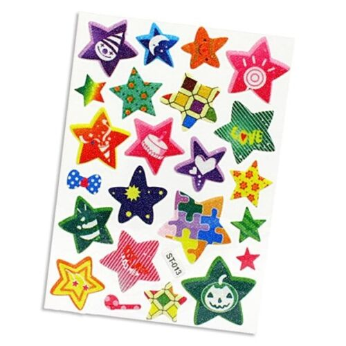 kariert Glitzersticker 23 Stück, Muster-Sterne Sticker gestreift und mehr