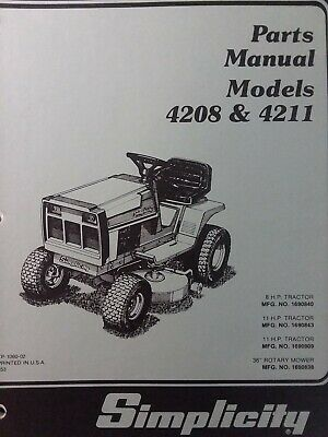 simplicity 4208 4211 lawn tractor  mower parts manual 1690840 1690843  1690909  ebay