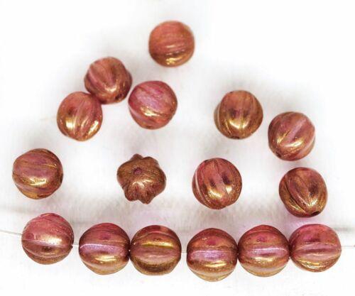 40pcs Round Melon Halloween Pumpkin Fruit Czech Glass Beads 6mm