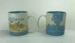 Starbucks-2012-034-California-034-Redwood-Coffee-Mug-Cup-16-oz-Collector-Lot-Of-Two