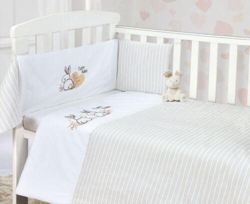 Baby Coton 2 Pièce lit Bébé Couette /& Pare-chocs Literie Bale Set Lapin Lapin Rayures