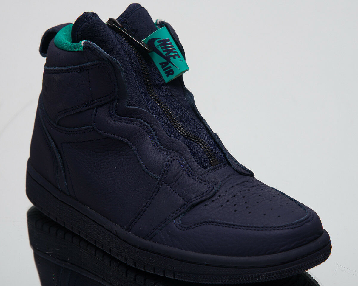 Air Jordan Women's 1 High Zip Lifestyle shoes Blackened bluee Sneakers AQ3742-403