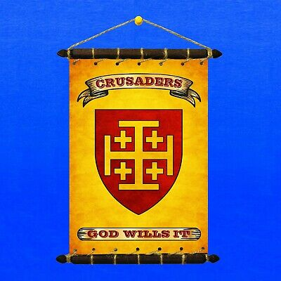 CRUSADERS FLAG With ARMS /& MOTTO SET 5in1 Banner Sticker Pennant Postcard Magnet