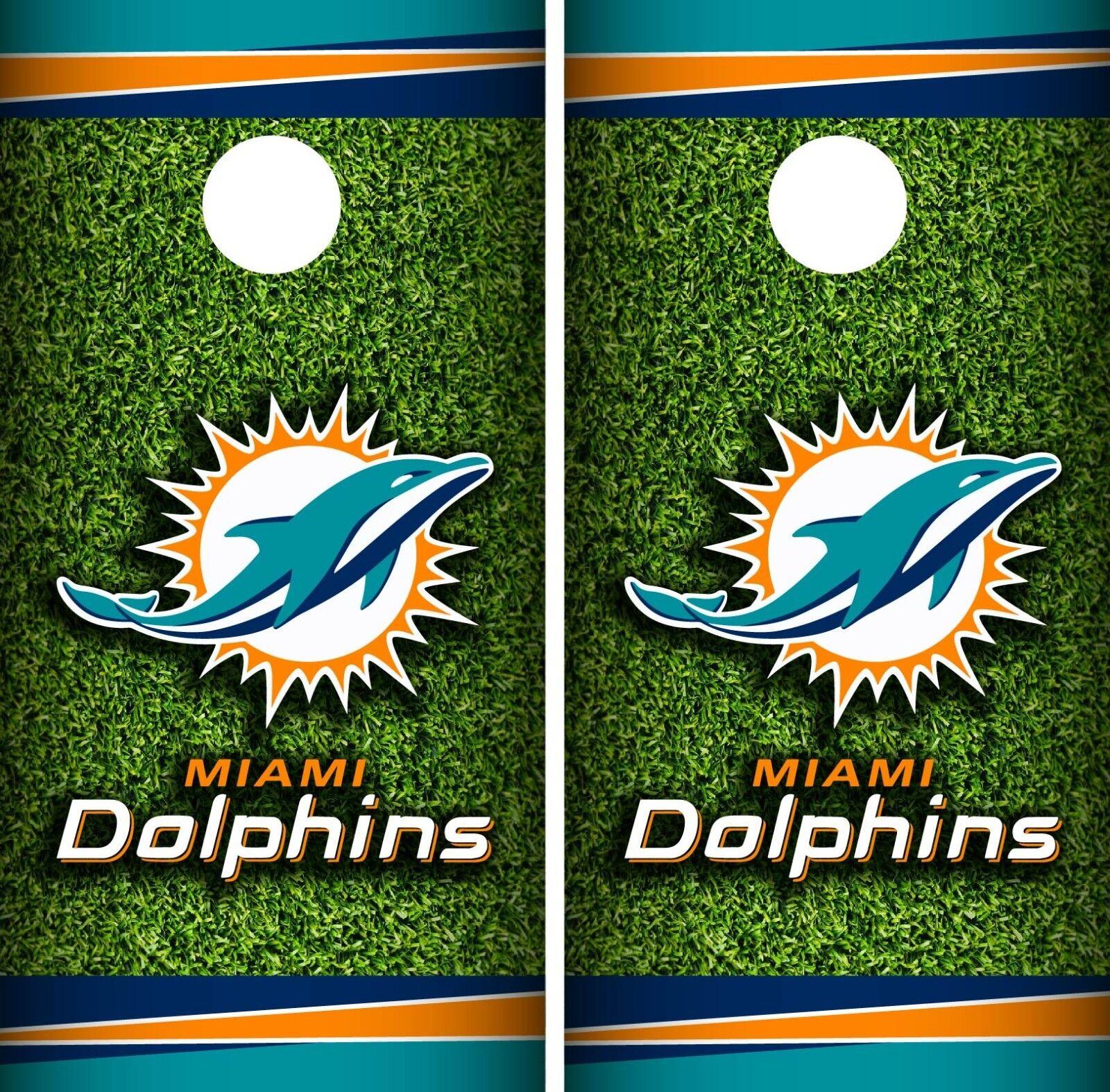 Miami Dolphins Field Cornhole Wrap NFL Skin Game Board  Set Vinyl Art CO139  factory direct