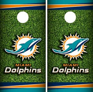 Dolphins Football Field Cornhole Board Decal Wrap Wraps