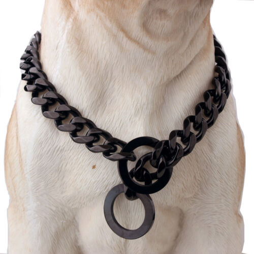19mm Stainless Steel Silver//Gold Flat Link Curb Bulldog Big Dog Chain Collar