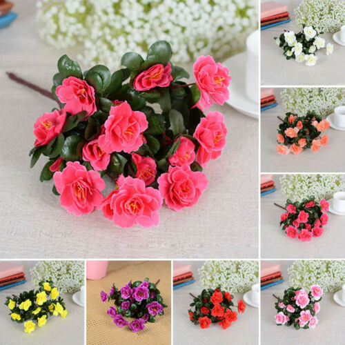 Artificial Flowers Silk Fake Leaf Azalea Floral Wedding Party Home Decor Bouquet