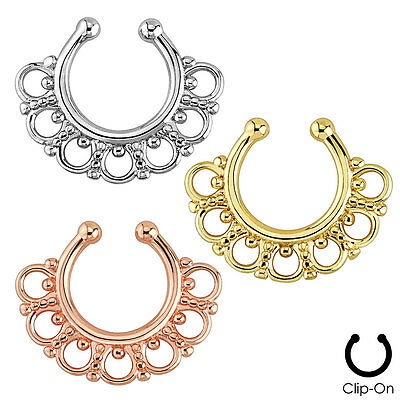 Fake Non-Piercing Tribal Fan SEPTUM Nose Clip-On Hanger RINGS Studs Body Jewelry
