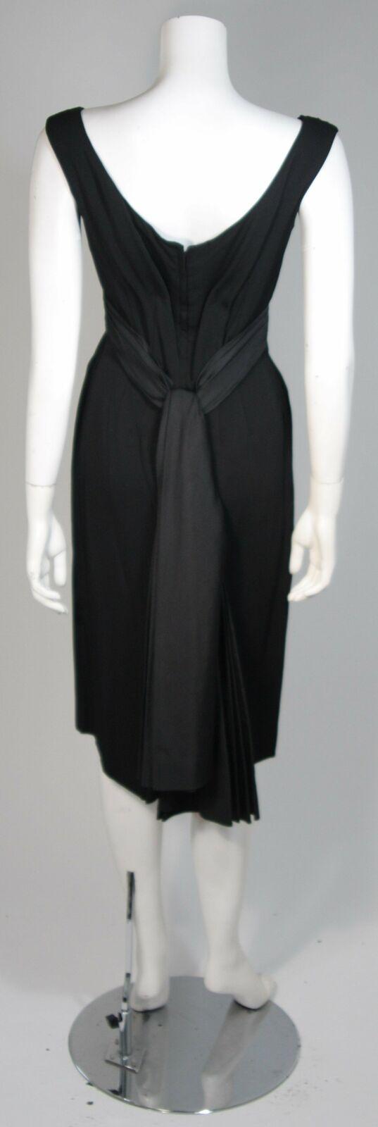 CEIL CHAPMAN 1950s Black Draped Cocktail Dress Si… - image 7