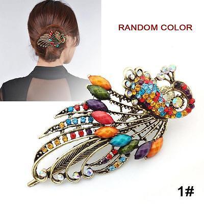 Fashion Women Girls Crystal Rhinestone Peacock Barrette Hair Clip Hairpins 1# GJ