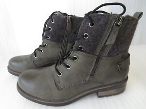 Eu39 Arizona 6 Leather Grey Winter taglia Womens Stivaletti Zip Faux New BwqfTSq