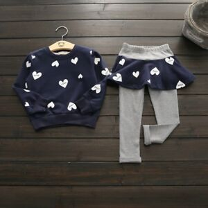 b650580910ea5 Details about 2PCS Cute Kids Baby Girl Heart Printed Outfits T-shirt Tops+ Long Pant Set New