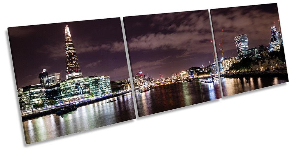 London Skyline Cityscape Picture CANVAS WALL ART Triple Print