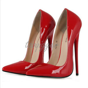 Hot-Sexy-16cm-Womens-Pumps-Pointed-Toe-Stiletto-Chic-Patent-Leather-Shoes-Heel