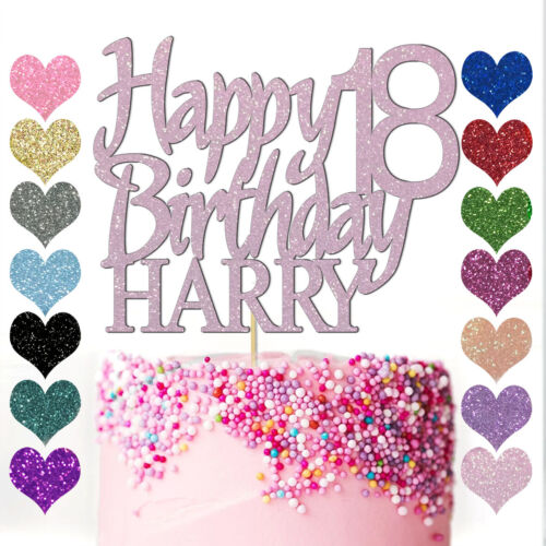 Personalised Name Cake Topper Custom Happy Birthday Party 13th 16 18 21 25 30 40