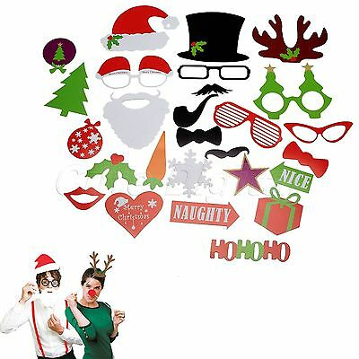 27pcs Photo Booth Props Santa Claus On A Stick Masks for Christmas Party Decor
