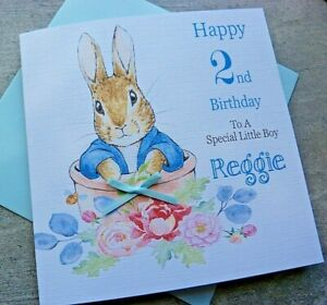 Personalised Handmade Childrens Bunny Rabbit /& Balloon Birthday Card 1st 2nd 3rd
