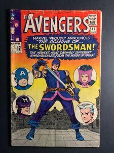 AVENGERS #19 MARVEL 1965 1ST APP SWORDSMAN STAN LEE JACK KIRBY LOW GRADE