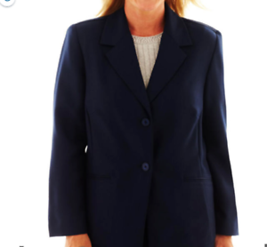Alfred-Dunner-Women-039-s-Blazer-Size-14-Blue-Jacket-Two-Front-Buttons-NWOT