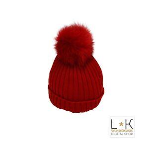 Cappello-in-Lana-a-Coste-con-Pon-Pon-in-Volpe-Rosso-Unisex-Creazioni-Luana-5217R
