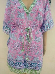 Indian-Cotton-Kaftan-Hand-Block-Print-Night-wear-Maxi-Women-Kimono-Short-CoverUp