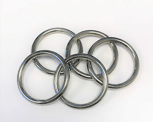 """5pc Set Stainless Steel T316 Welded Round Rings - 3/8"""""""