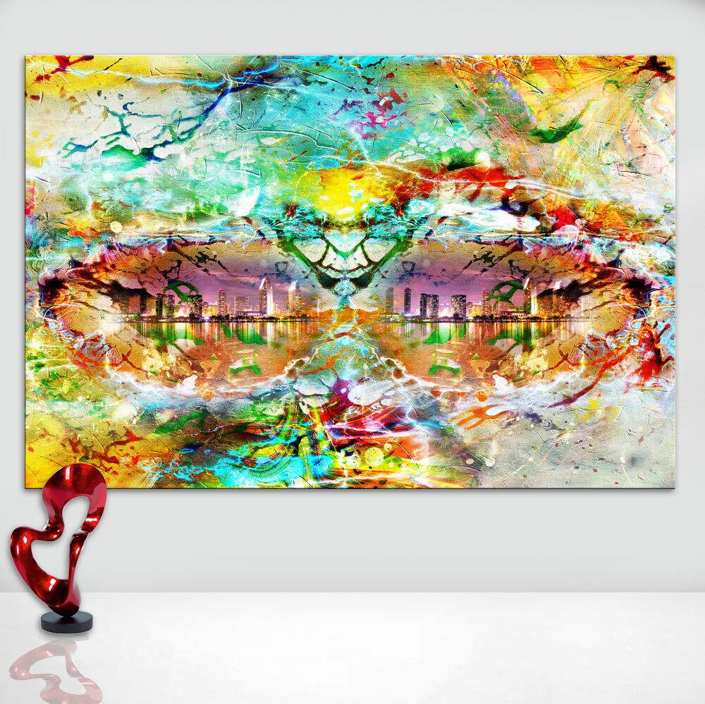 Abstraktes Bild Bunt Farbe Skylien Muster Leinwand Kunst Bilder Wandbilder D1771