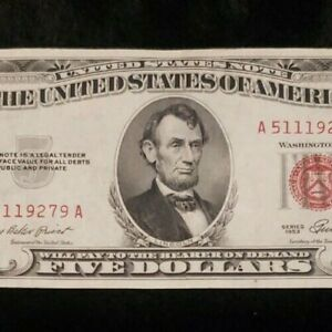 034-Rare-United-States-Legal-Tender-Currency-Note-034-1953-Red-Seal-5-Bill