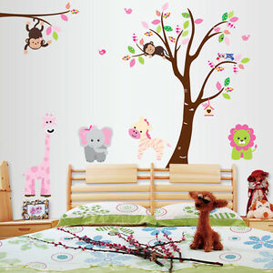 Monkey-Lion-Tree-Removable-Vinyl-Decal-Wall-Stickers-For-Kids-Room-Home-Decor