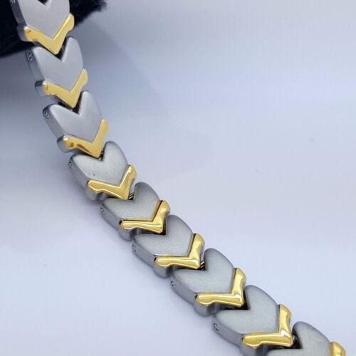 LADIE/'S MEN/'S ELEGANT TITANIUM BIO MAGNETIC BRACELET 5 in 1 SILVER//GOLD TSG1