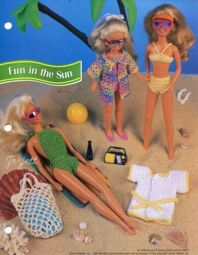 Fun in the Sun ~ fits Barbie Skipper Stacie dolls, crochet pattern leaflet