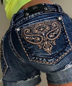 Miss-Me-cut-off-Rhinestone-Cuffed-Low-Denim-blue-Jean-shorts-size-2-26