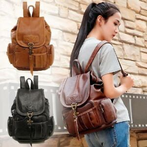 Women-039-s-Vintage-Leather-Backpack-School-Backpack-Shoulder-Travel-Rucksack-Bag