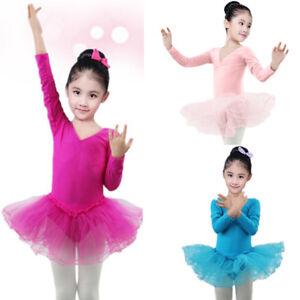 982d9d5ed Kids Toddler Girl Long Sleeve Ballet Dance Wear Dress Leotard Tutu ...