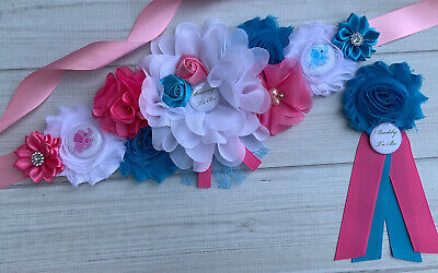 Blue Elephant Maternity Sash Belt /& Baby Shower Daddy To Be Corsage Pin