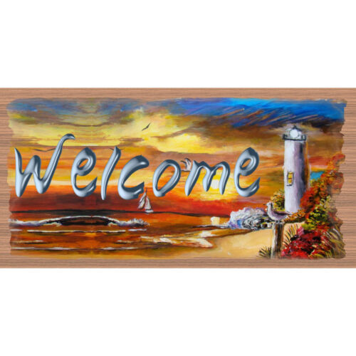 GS 3008 Welcome Lighthouse Sign Tropical Wood Sign