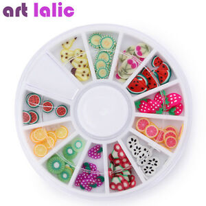 240pcs 3d Fruit Nail Art Fimo Canes Polymer Clay Stickers Tips Diy