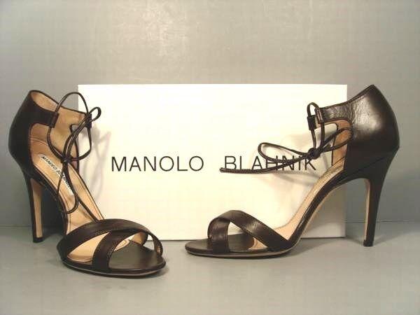 Manolo Blahnik 38 Backla Marronee Marronee Marronee Leather Ankle Tie Sandals Pumps High Heels NEW 955f3a