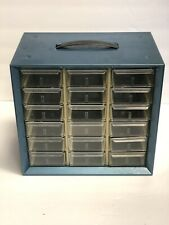 Small Parts Storage Cabinet Akro Mills A M Metal 18 Drawers Blue