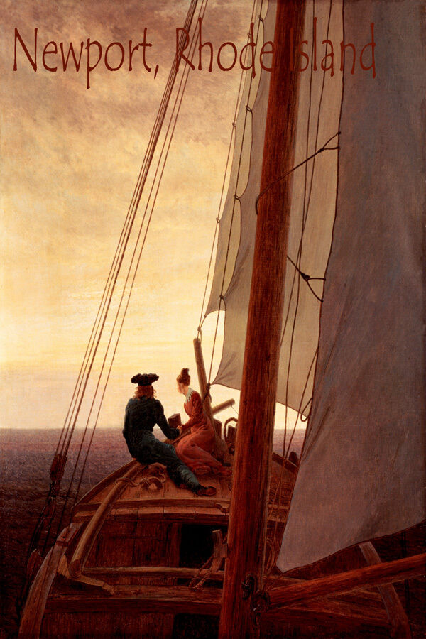 SUNSET SAILING NEWPORT RHODE ISLAND SAILBOAT ROMANTIC SAIL VINTAGE POSTER REPRO
